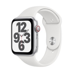 Apple Watch SE GPS + Cellular, 44mm Silver Aluminium Case with White Sport Band