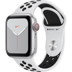 Apple Watch Nike Series 5 GPS + Cellular, 40mm Silver Aluminium Case with Pure Platinum/Black Nike Sport Band