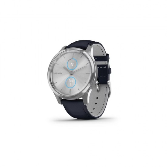 Garmin Vívomove Luxe 42mm Silver Stainless Steel Case with Navy Italian Leather Band
