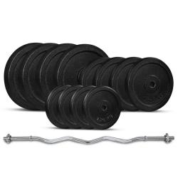 Lifespan Fitness 40kg Curl Bar Standard Weight Set