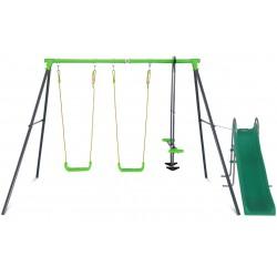 Lifespan Kids Hurley 2 Metal Swing Set with Slippery Slide